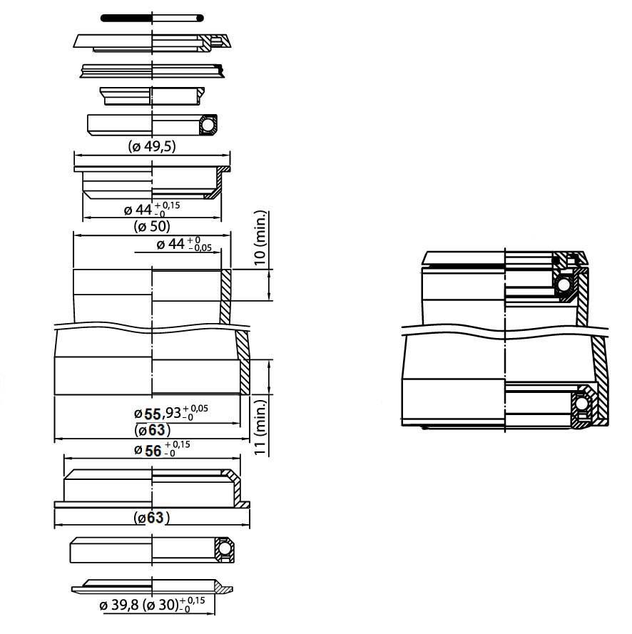 1,5 Tapered Semi-Integriert ZS44-ZS56